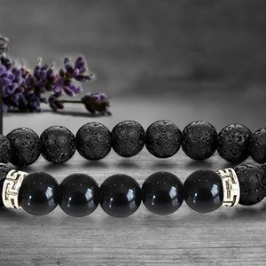Jewelry - Lava and Onyx Stone Bracelet